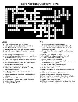 Roofing Construction Vocabulary in Crossword and Word Search Puzzle