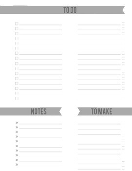 Room 016 | To Do List, To Make, & Notes Planner Black & White