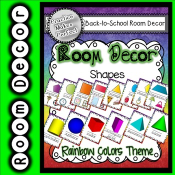 Room Decor  - 2D and 3D shape posters rainbow theme