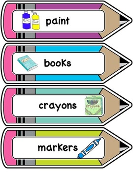 Room Decor Bin Labels - Rainbow Theme