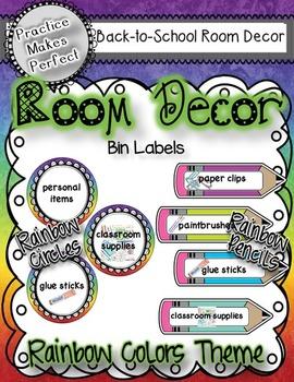 Room Decor Bin Labels - Rainbow Theme