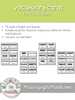 Room Labels / Vocabulary Cards for ESL Students
