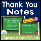 Thank You Notes: 3 Design Options in Color & Black & White: Thank You Cards