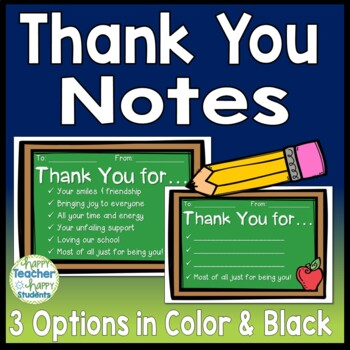 Thank You Notes: 3 Design Options in Color & Black & White ...
