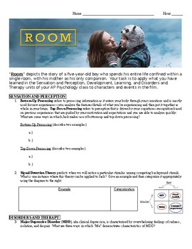 Room Movie Worksheet for Psychology