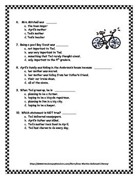 Room One by Andrew Clements: Book Test and Answer Key