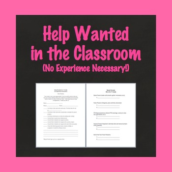 Room Parent Sign Up, Classroom Help Sign Up Form, Back to