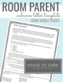 Room Parent Welcome Letter Template - Using Google Slides