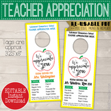 End of Year Teacher Appreciation Gift - Printable Room Service Door Hanger,