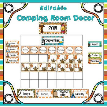 Classroom Decor  Room Theme  Camping Editable