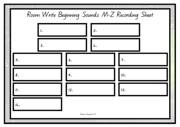 Write the Room - Beginning Sounds M - Z