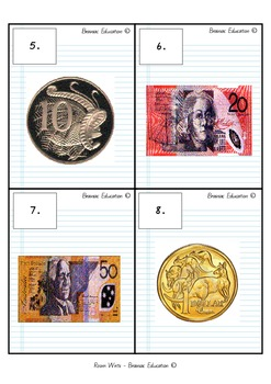 Write the Room - Money Recognition AUSTRALIAN CURRENCY