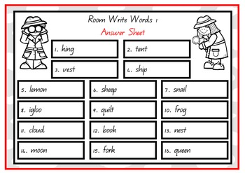 Write the Room - Words Set 1