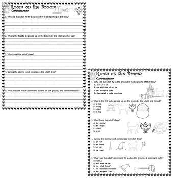 Room on the Broom : Reading Comprehension Halloween Literacy on LINED PAPER
