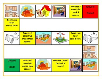 Rooms & Articles of the House French Vocab Board Game