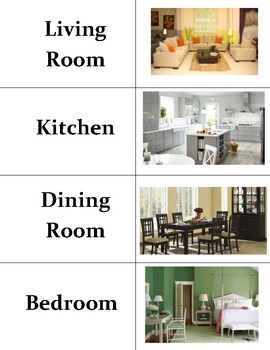 Rooms In A House Vocabulary Sort Cards