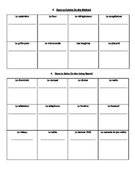 Rooms & Items of the House Dictionary Worksheet