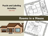 Rooms in a House - Puzzle Parts and Labeling Activities (Set of 6)