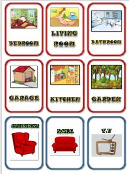 Rooms in a House and Room Items: Matching Card Game