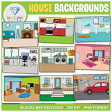 Rooms of the House Backgrounds Clip Art - For BOOM CARDS,
