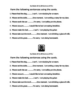 Rooms of the house sentence shifter activity