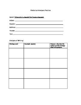 Roosevelt Speech- AP Language and Composition - Analysis Organizer