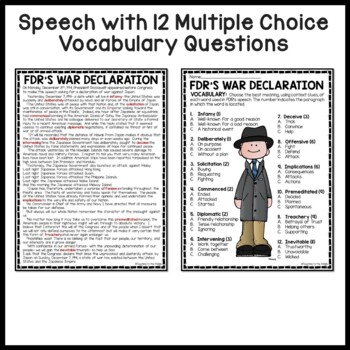 Roosevelt's Declaration of War on Japan Speech, Questions, WWII, Pearl Harbor