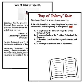 Roosevelt's Day of Infamy Speech Common Core Reading Test Prep Quiz & Activities