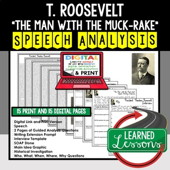 "Roosevelt's ""Man with the Muck-Rake""  Speech Analysis & Writing Activity Google"