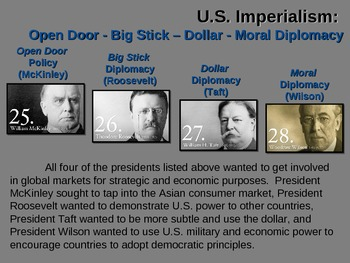 Roosevelt's BIG STICK DIPLOMACY fun, easy, engaging PPT & Primary Source Handout