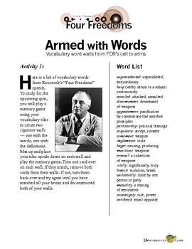 Roosevelt's Four Freedoms Speech Vocabulary Activity with Quiz