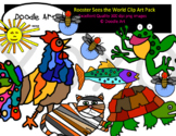 Rooster Sees the World Clip Art Pack
