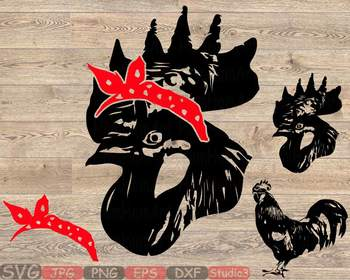 Rooster whit Bandana Silhouette SVG clipart cowboy Chicken cock Farm 848S