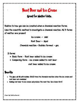 Root Beer and Ice Cream Experiment with Data Sheet