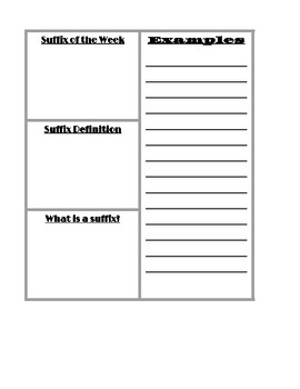 Root, Prefix, and Suffix of the Week Interactive Notebook