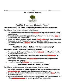 Root Word Activity: chronos, inter, tempus, para, arbor