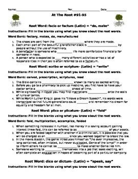 Root Word Activity:  facio/factum, scribo/scriptum, plico, dico, dictum, biblos