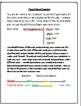Root Word Creature...understanding Latin and Greek root words