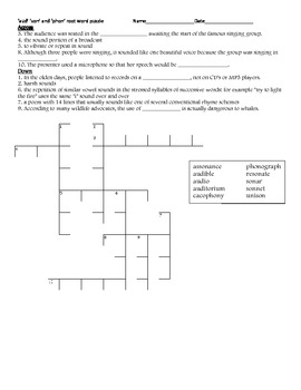 Root Word Crossword Puzzles