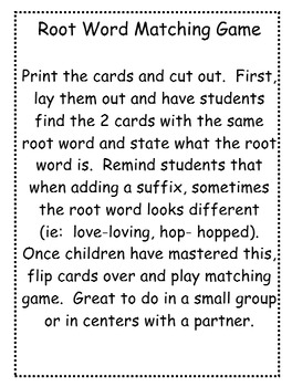 Root Word Matching Game