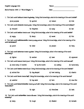 Root Word Packet