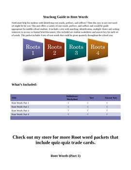 Root Word Packet set of 4
