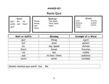 Root Word Practice Packet