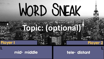 Root Word Sneak: A Super Fun Word Game to Review Greek and Latin Root Words!