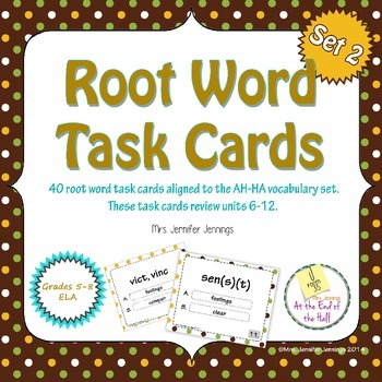 Root Word Task Cards - AH-HA vocabulary, level 1, units 6-12