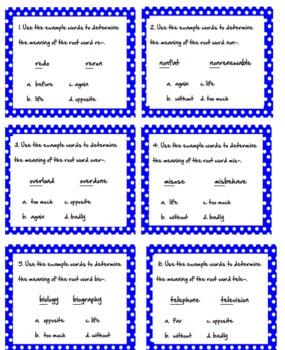 Root Word Task Cards Bundle-All 5 Sets!