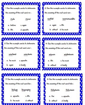 Root Word Task Cards Bundle-All 5 Sets!