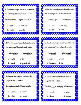 Root Word Task Cards Set 3