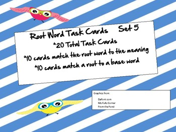 Root Word Task Cards Set 5