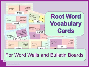 Root Word Vocabulary Cards for Word Walls and Bulletin Boards